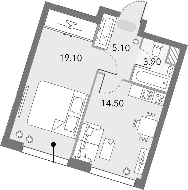 1-комнатная, 42.6 м²– 2