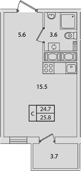 Студия, 25.8 м², от 3 этажа