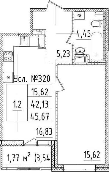 2Е-к.кв, 42.13 м²