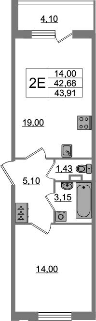 2-к.кв (евро), 46.78 м²