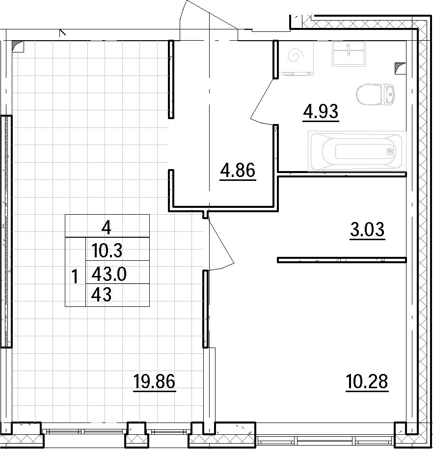 2Е-к.кв, 42.96 м²