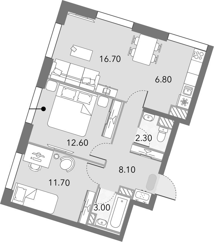 3Е-комнатная, 61.2 м²– 2