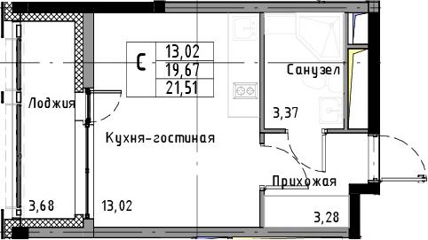 Студия, 21.51 м², 6 этаж