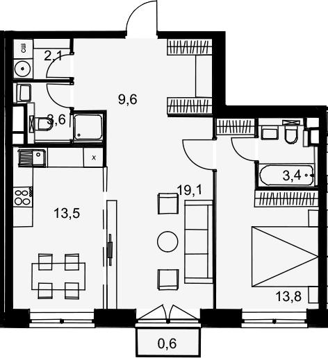 2-к.кв, 65.7 м²