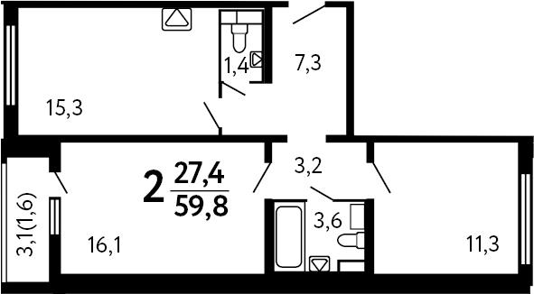 2-комнатная, 59.8 м²– 2
