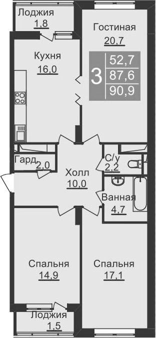 4-к.кв (евро), 94.2 м²
