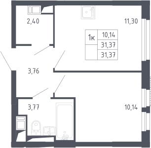 1-к.кв, 31.37 м²