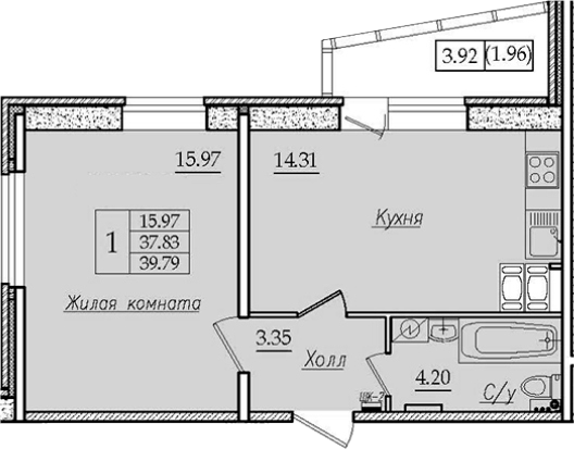 1-комнатная, 39.79 м²– 2