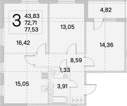 4Е-к.кв, 75.12 м², от 2 этажа