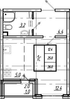 Студия, 26 м²– 2