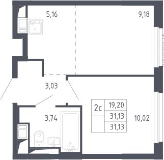 2Е-к.кв, 31.13 м², 9 этаж