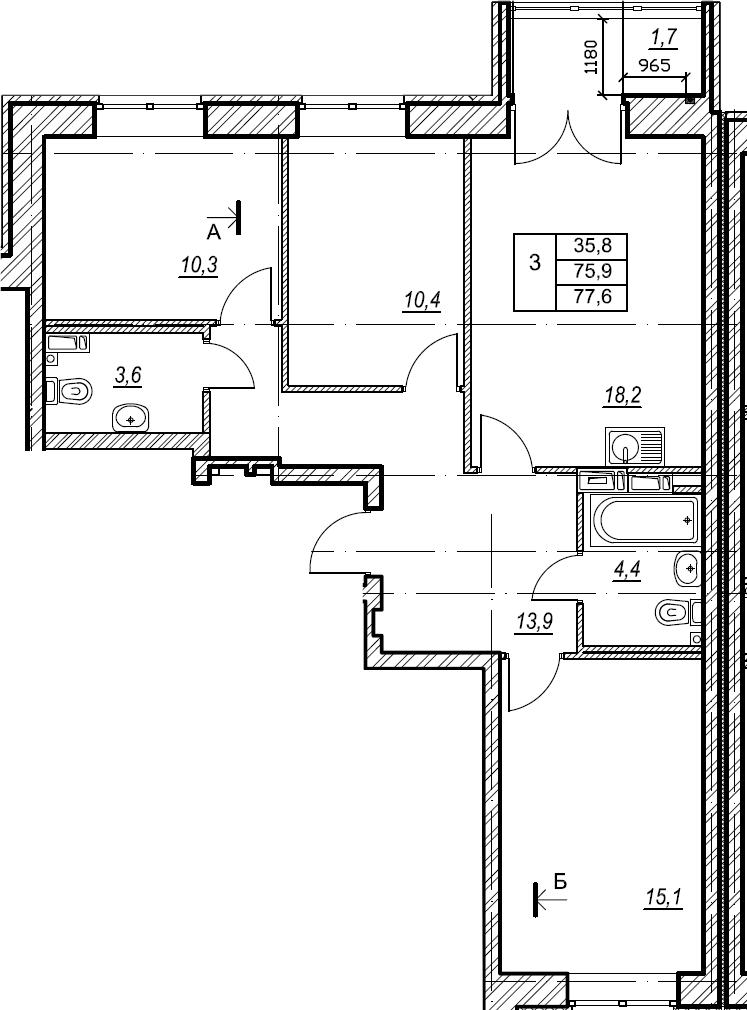 3-к.кв, 77.6 м², 3 этаж