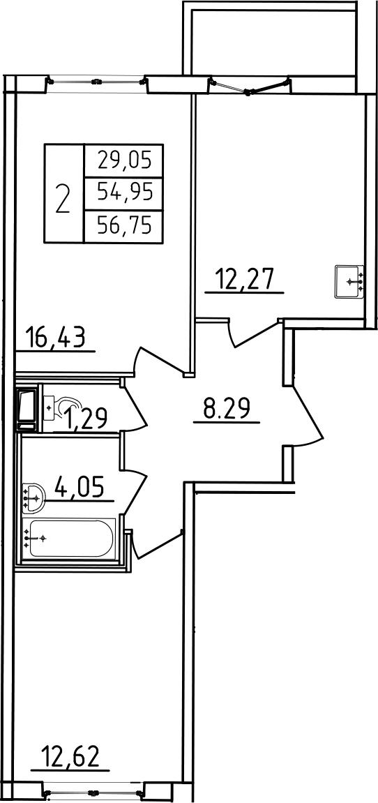 2-к.кв, 60.95 м²