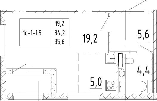 Студия, 35.6 м², 2 этаж