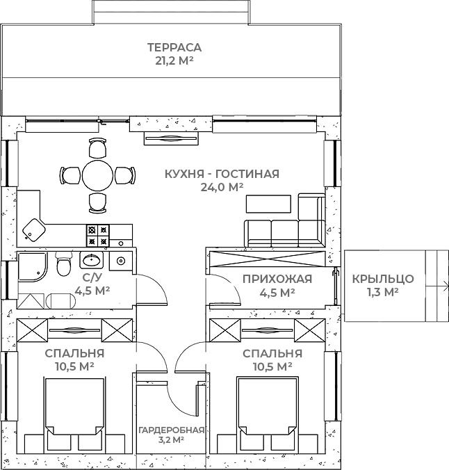 Коттедж, 63 м², 1 этаж – Планировка