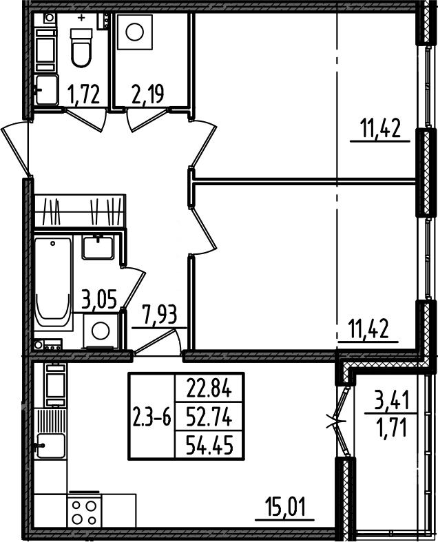 3Е-комнатная, 54.45 м²– 2