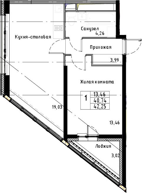 2Е-к.кв, 42.25 м², 7 этаж