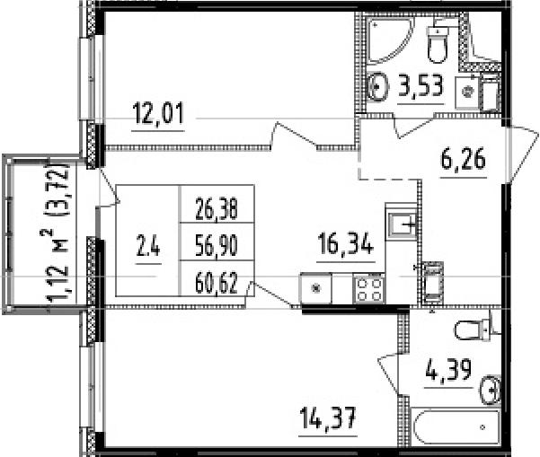 3Е-к.кв, 56.9 м², от 7 этажа
