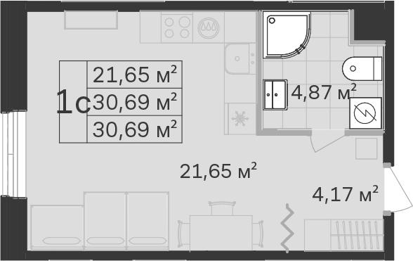Студия, 30.69 м²