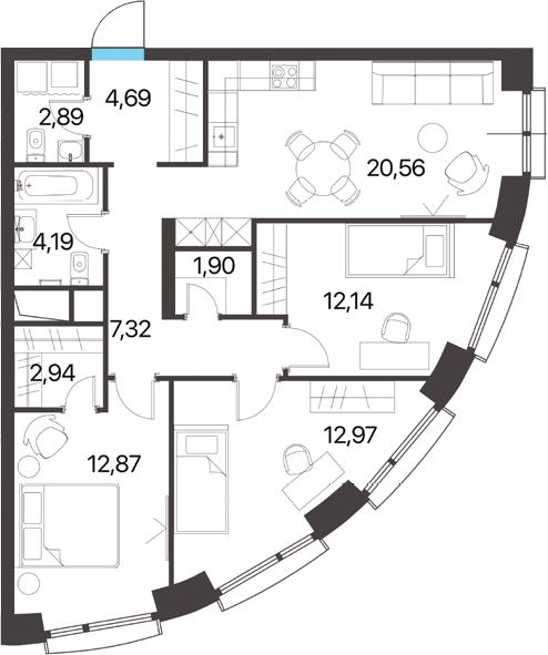 3-к.кв, 82.47 м², 13 этаж