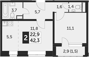 2Е-к.кв, 42.3 м²