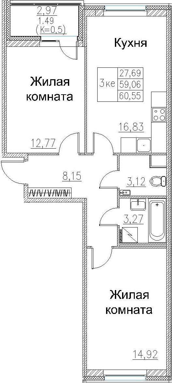 3Е-комнатная, 60.55 м²– 2