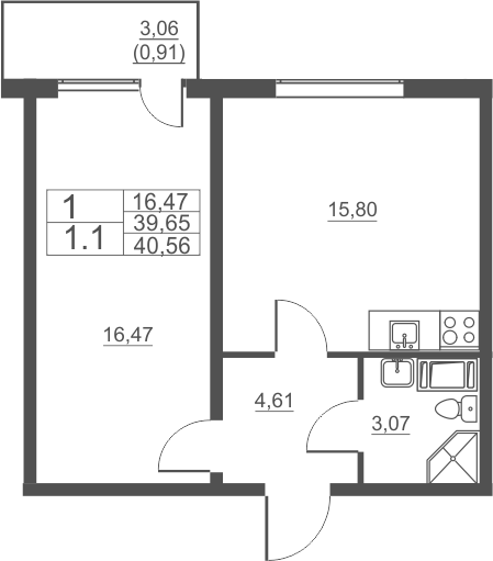 2Е-к.кв, 40.56 м²