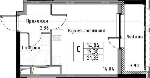 Студия, 21.33 м², 11 этаж