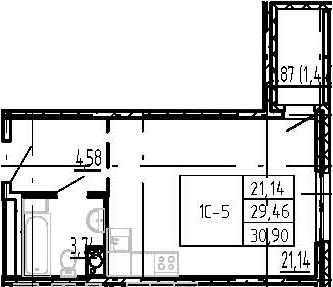 Студия, 30.9 м²– 2