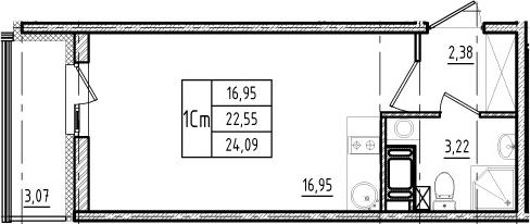 Студия, 22.55 м²– 2