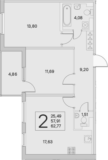 3Е-комнатная, 62.77 м²– 2