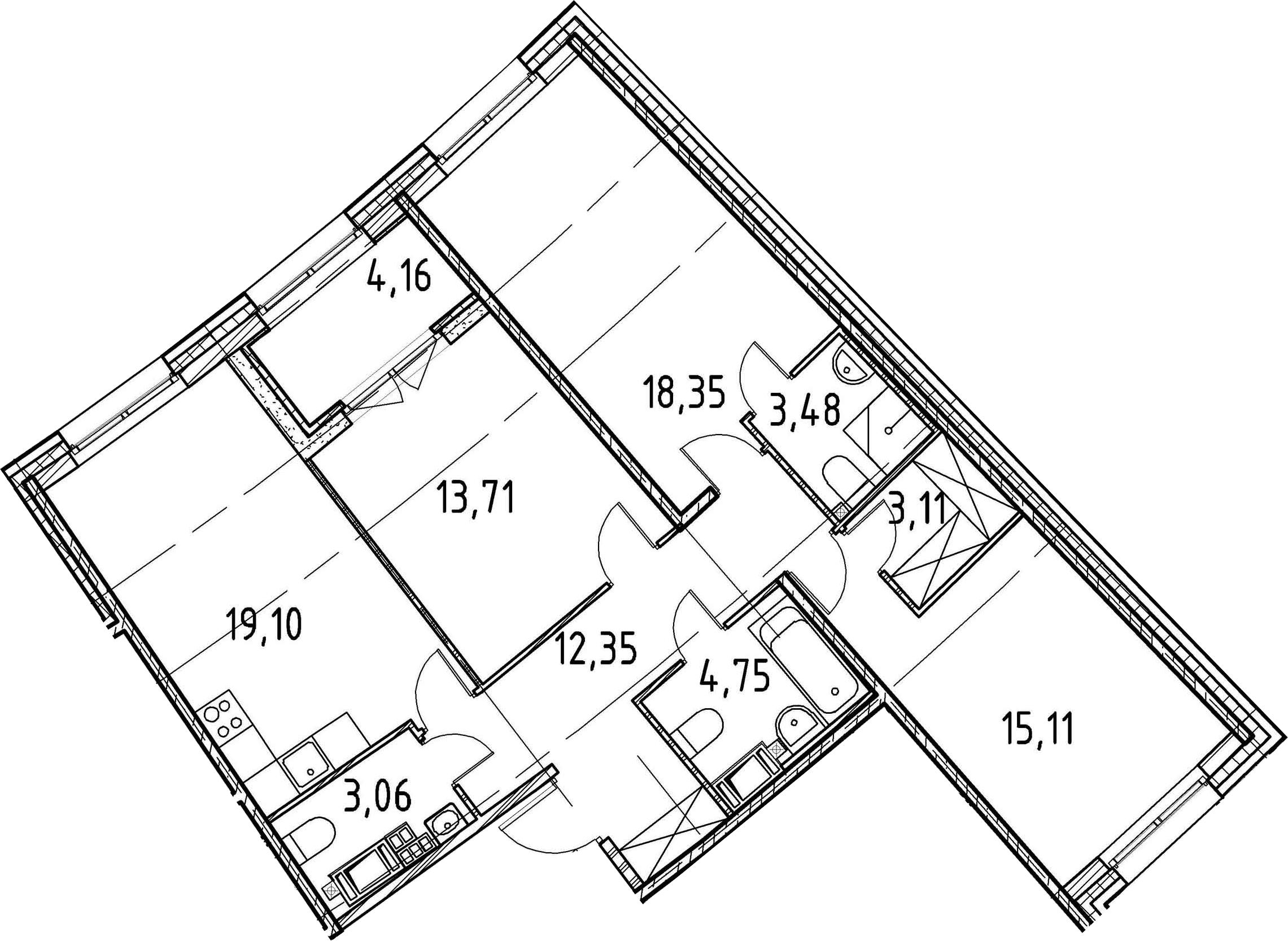 3-к.кв, 93.02 м²