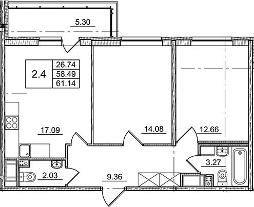 3Е-к.кв, 58.49 м²