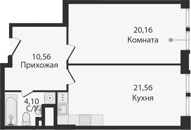 2Е-комнатная, 56.77 м²– 2