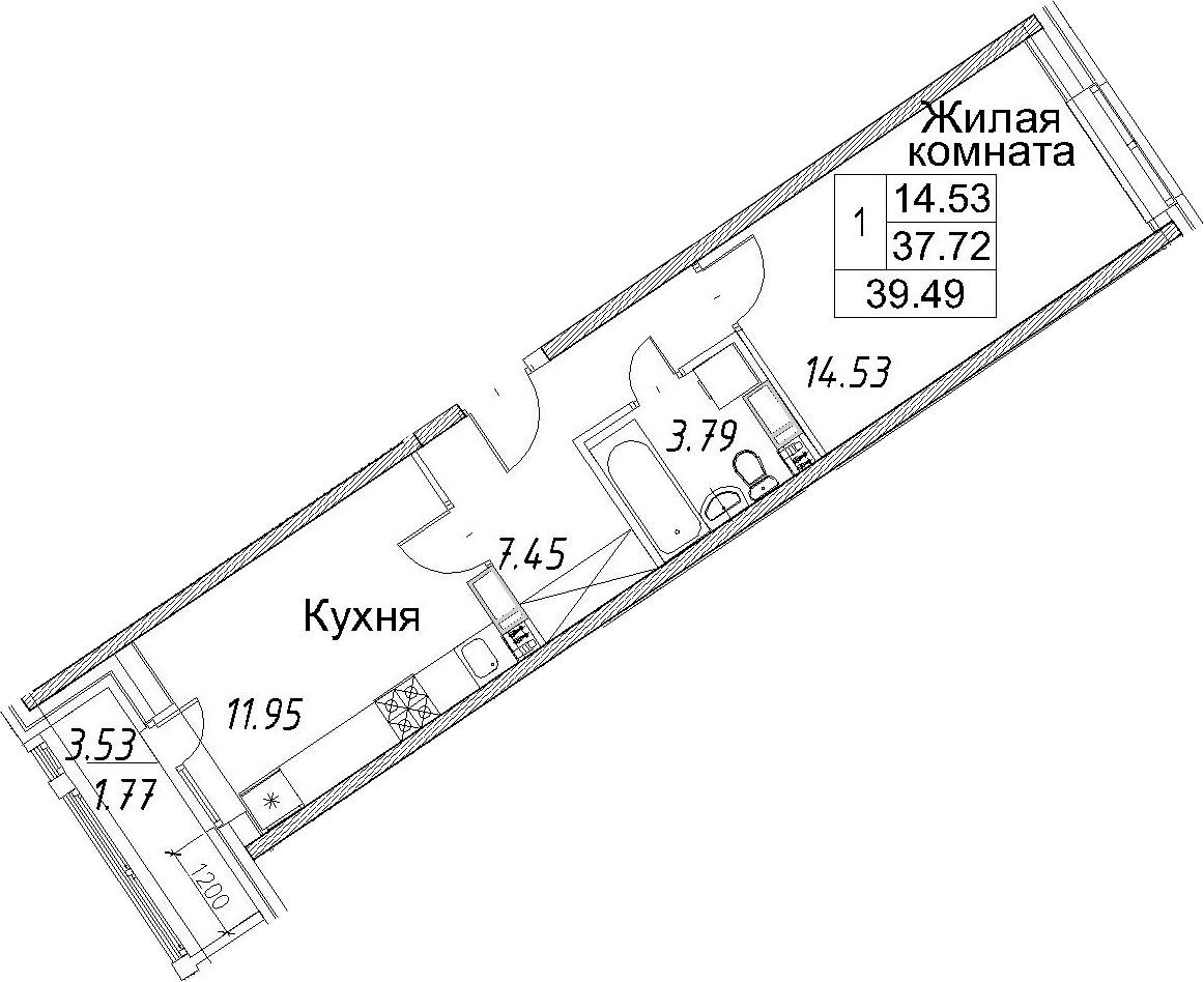 1-к.кв, 39.49 м²