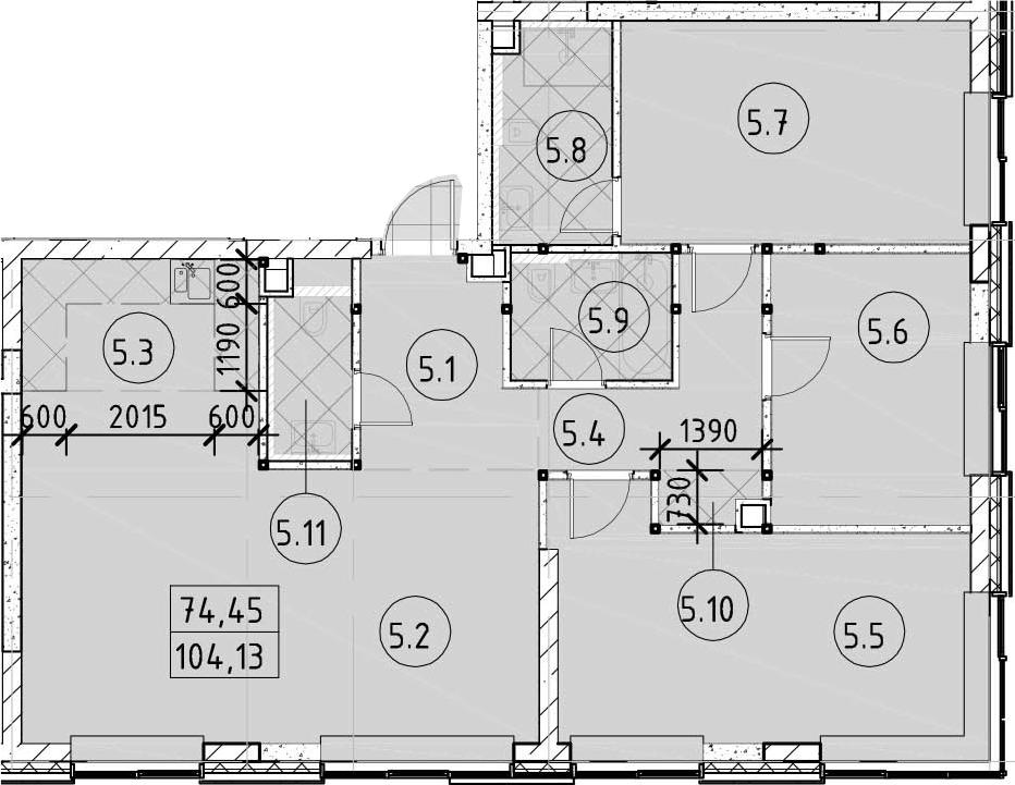 4Е-к.кв, 104.13 м²