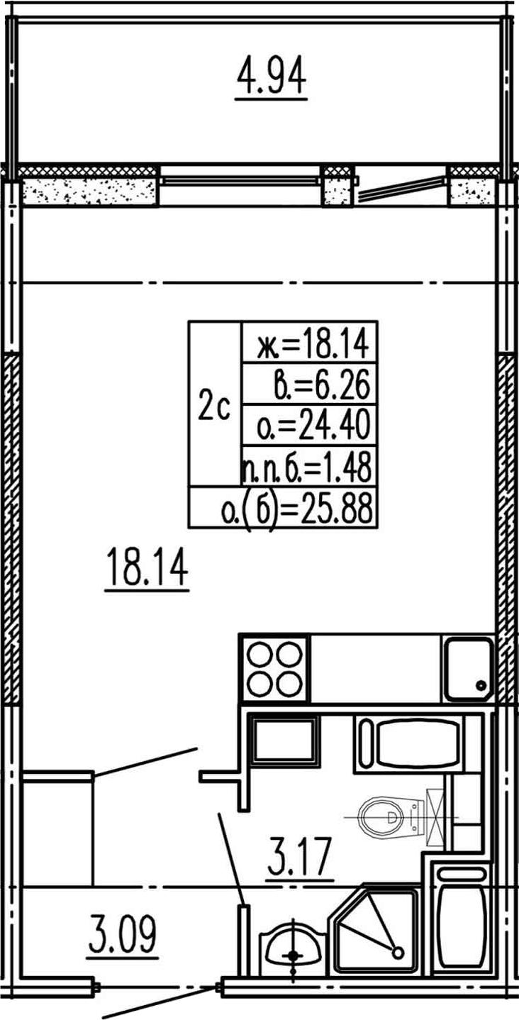 Студия, 24.4 м², 15 этаж