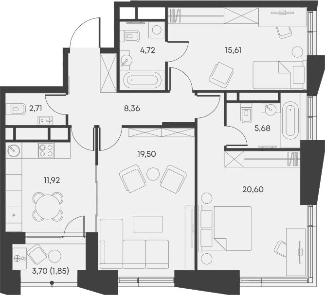 3-комнатная, 90.95 м²– 2