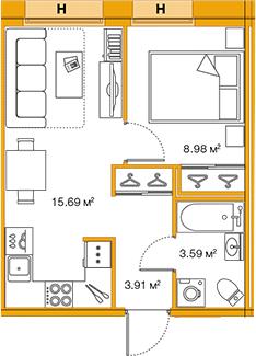 2-к.кв (евро), 32.17 м²