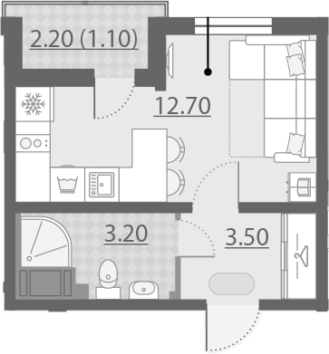 Студия, 20.5 м²– 2
