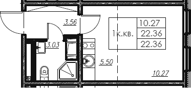 Студия, 22.36 м²