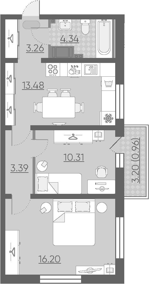 2-к.кв, 51.94 м²