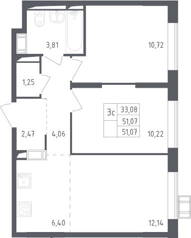 3Е-комнатная, 51.07 м²– 2