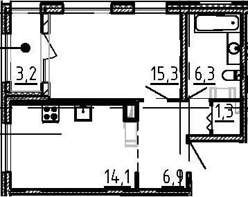 1-комнатная, 45.5 м²– 2