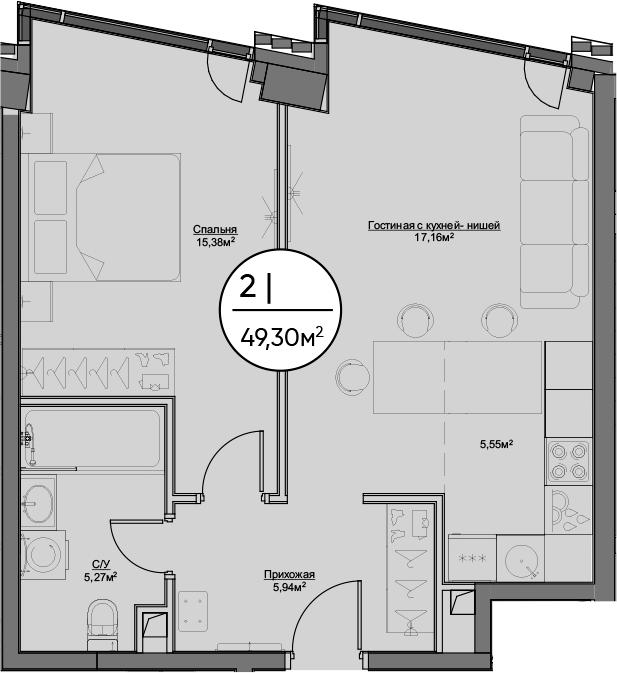 2Е-комнатная, 49.3 м²– 2