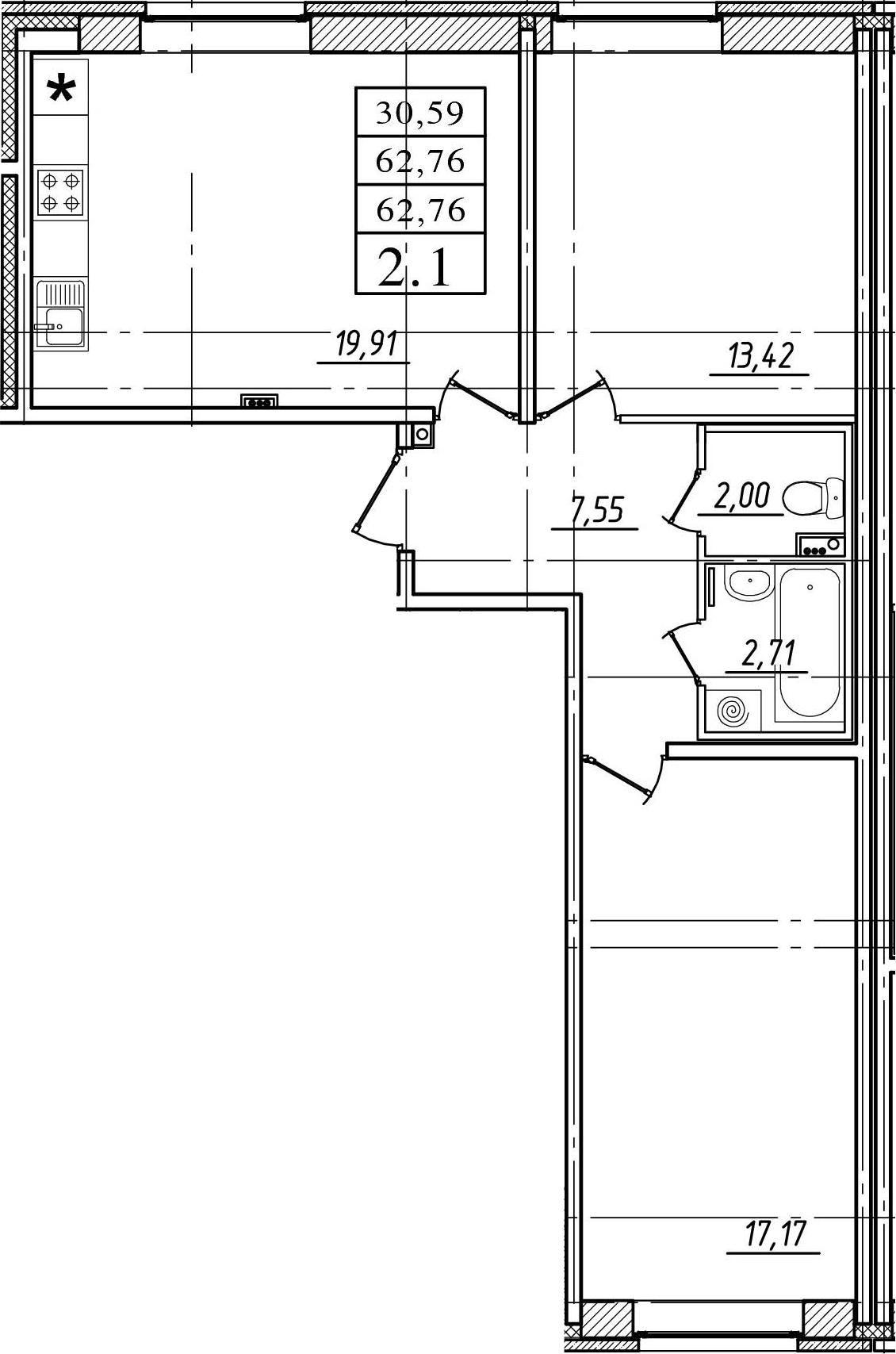 3Е-к.кв, 62.76 м²