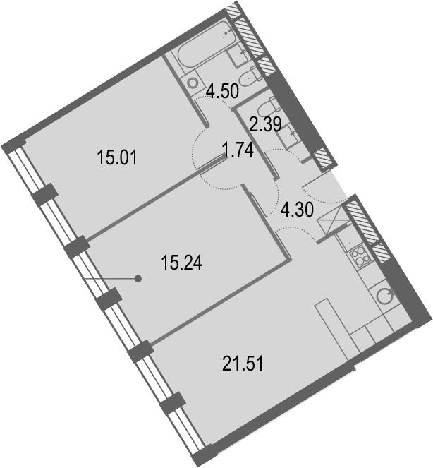 3Е-комнатная, 64.69 м²– 2