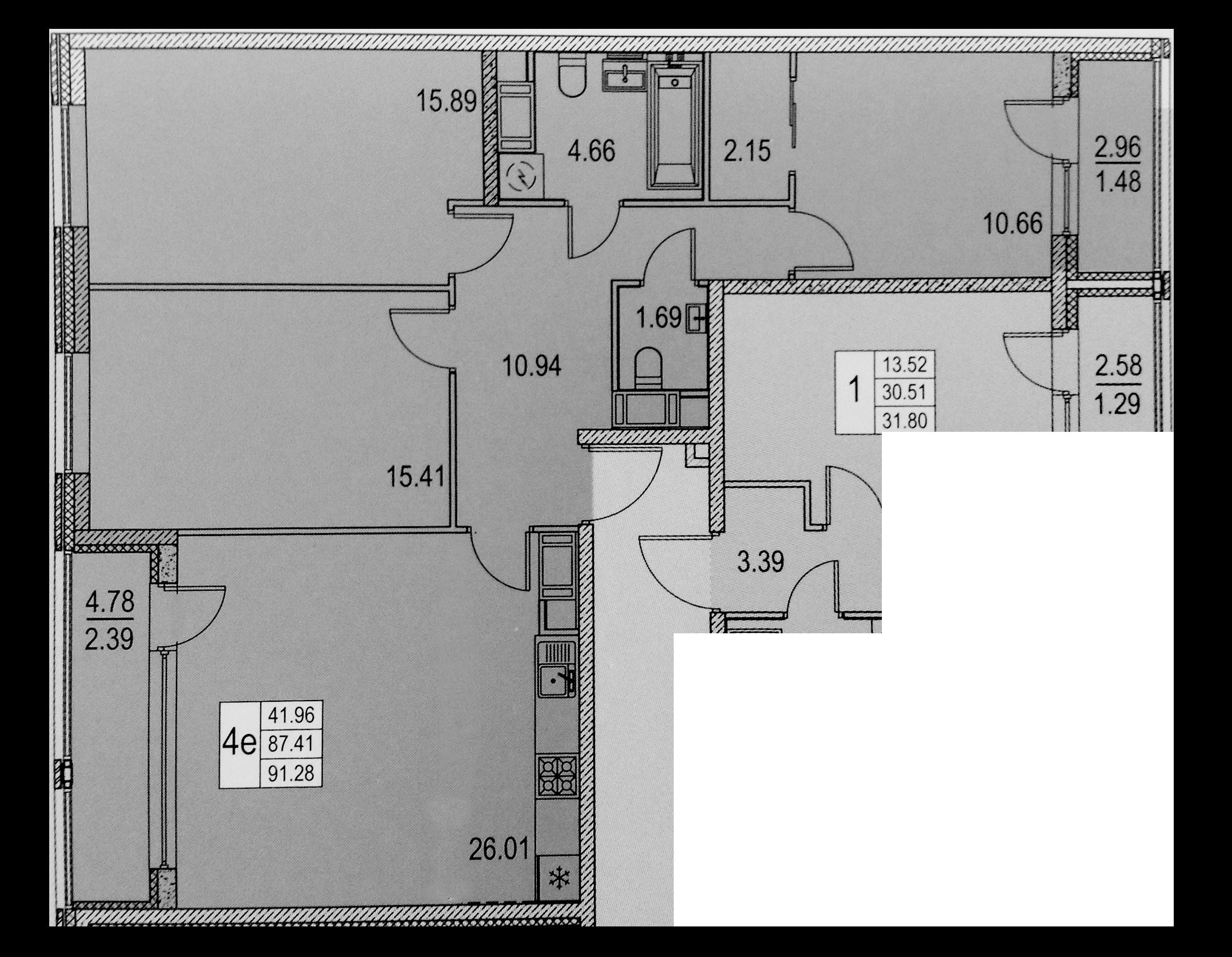 4Е-комнатная, 87.41 м²– 2