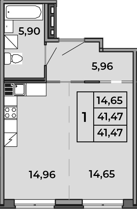Студия, 41.47 м²