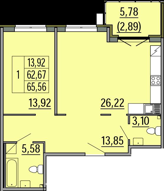 2Е-комнатная, 65.56 м²– 2